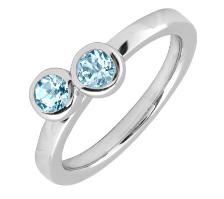Simply Stacks Sterling & Aquamarine Double Circle Ring