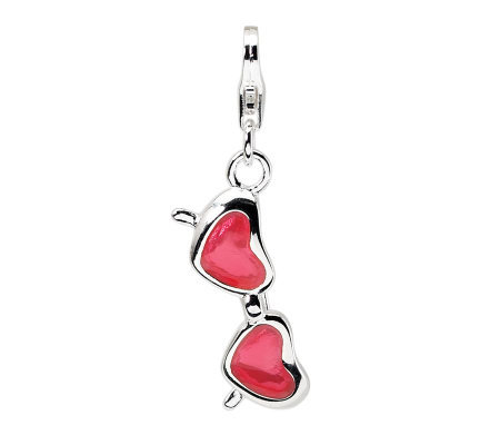 Amore La Vita Sterling Heart Sunglasses Charm