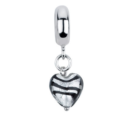 Prerogatives Heart/Stripes Italian Murano Dangle Glass Bead