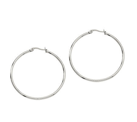 "Stainless Steel 1-3/4"" Hoop Earrings"