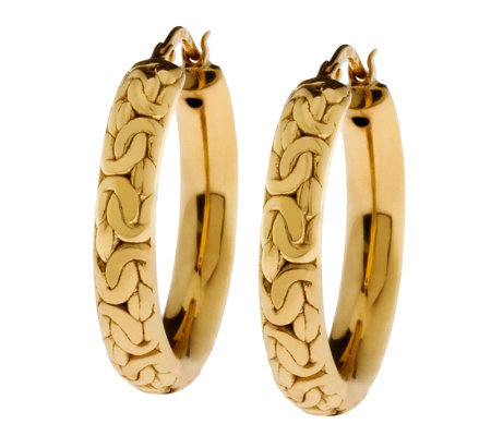 Veronese 18K Clad Byzantine Design Round Hoop Earrings