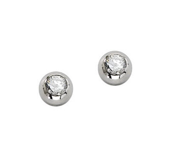Stainless Steel Cubic Zirconia Stud Earrings - J302477