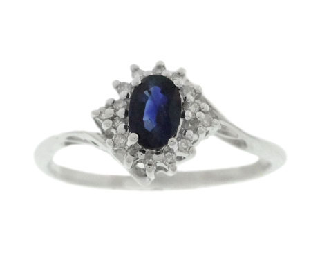 Sterling Sapphire and Diamond Accent Ring