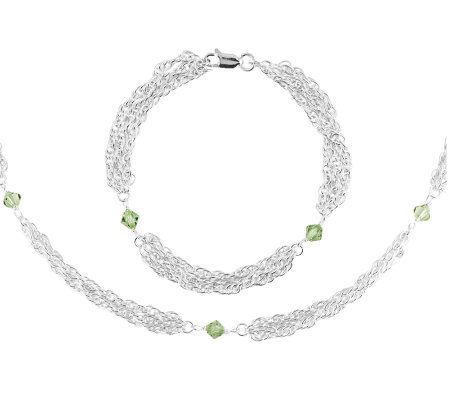 Sterling Multi-strand Chain Bracelet & NecklaceSet-Green
