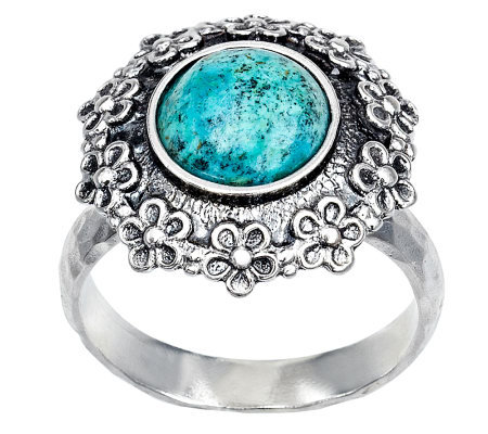 Or Paz Sterling Chrysocolla Floral Ring