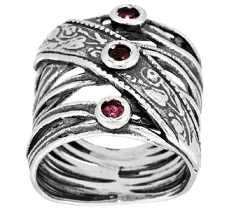 Sterling Silver Pink Tourmaline Crossover Ring by Or Paz - J318277