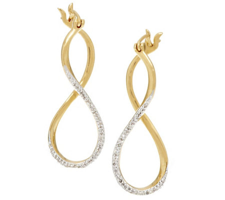Twisted Diamond Hoop Earring, Sterling, 1/7 cttw, by Affinity