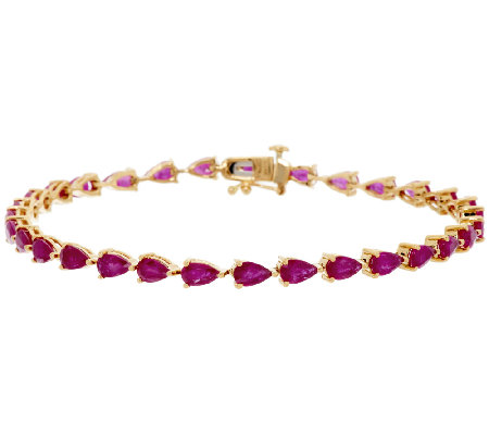 "Ruby, Emerald or Sapphire Pear Shaped 6-3/4"" Bracelet"