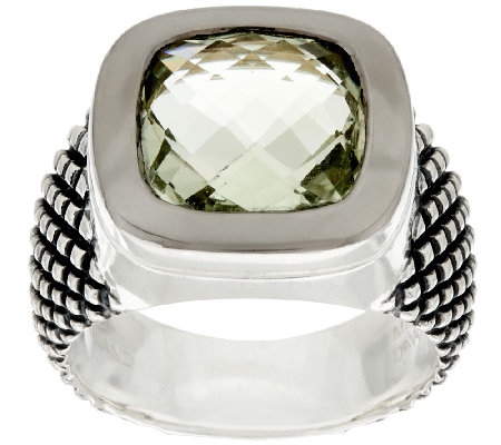 Michael Dawkins Sterling Crosshatch 3.75 ct wt Mint Quartz Ring