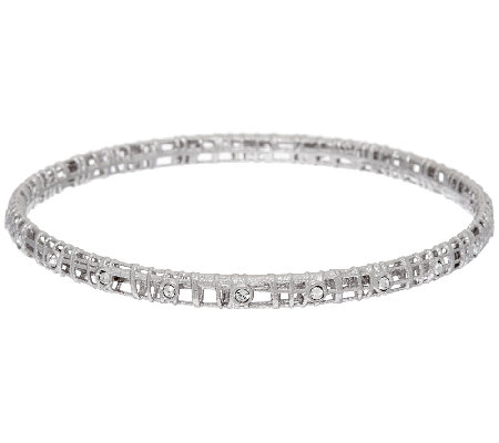 Vicenza Silver Sterling Crystal Open Work Slip-on Bangle Bracelet