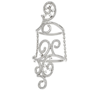 Lace Diamond Double Ring w/ Chain, Sterling 1/2 cttw, by Affinity - J321077