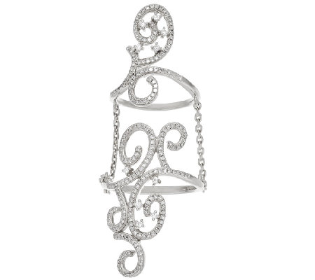 Lace Diamond Double Ring w/ Chain, Sterling 1/2 cttw, by Affinity