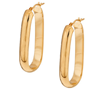 "Bronze 1-1/2"" Linear Design Oval Hoop Earrings by Bronzo Italia - J323877"