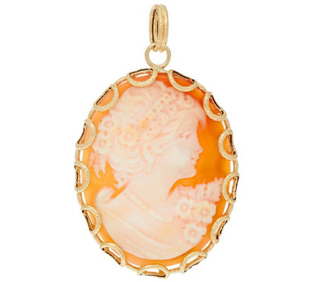 Vicenza Gold Oval Cameo Pendant 14K Gold