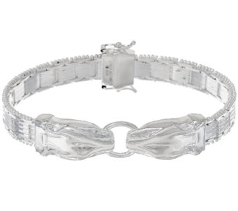 """As Is"" UltraFineSilver 6-3/4"" Panther Head Riccio Bracelet 30.7g - J325777"