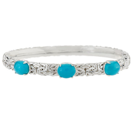 """As Is"" Sleeping Beauty Turquoise Ster. Byzantine Large Bangle"
