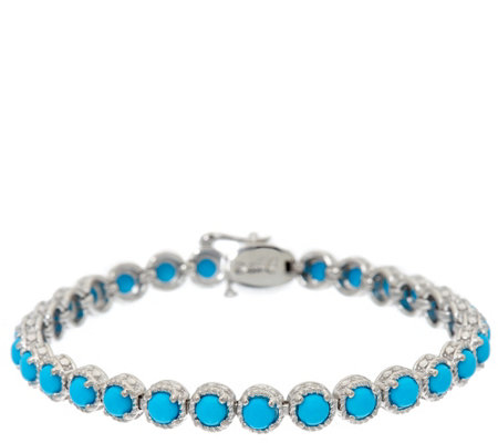 "Sleeping Beauty Turquoise 7-1/4"" Sterling Diamond Cut Tennis Bracelet"