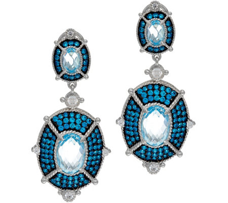 Judith Ripka Sky Blue Topaz & Diamonique Drop Earrings