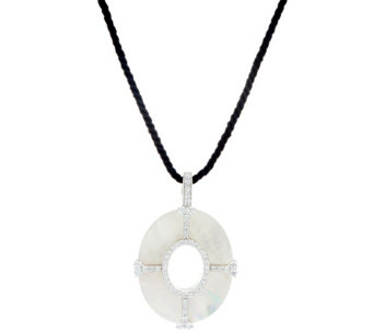 Judith Ripka Sterling Silver Mother of Pearl Enhancer with Black Cord - J330277