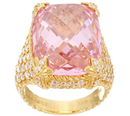 Judith Ripka Sterling / 14K Clad Pink Diamonique Monaco Ring