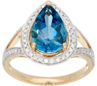 3.10 ct London Blue Topaz & 1/3 cttw Diamond Ring 14K Gold - J331277
