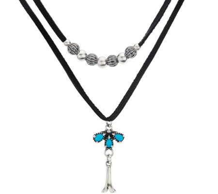 Sterling & Leather Double Row Necklace by American West