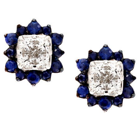 """As Is"" Michael Beaudry 4/10 ct tw Diamond & .70 cttw Sapphire Stud"