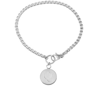 White Bronze Polished Initial Disc Bracelet by Bronzo Italia - J333677