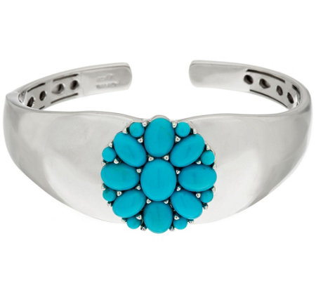 """As Is""Sleeping BeautyTurquoise Sterling Silver Flower Design Hinged Cuff"