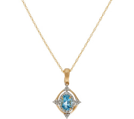 "Santa Maria Aquamarine & Diamond Enhancer on 18"" Chain, 14K Gold"