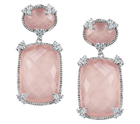 Judith Ripka Sterling Rose Quartz & DiamoniqueDrop Earrings