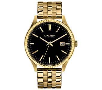 Caravelle New York Men's Black Dial Goldtone Bracelet Watch - J336577