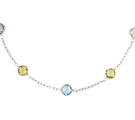 "Sterling 20.00 cttw Multi-Gem Cushion Station 18"" Necklace"