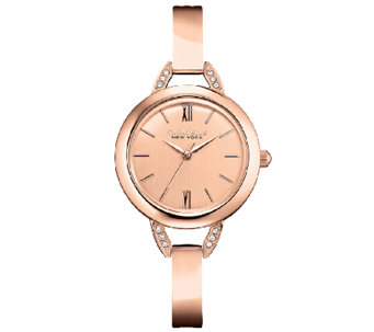 Caravelle New York Women's Rosetone Bangle Watch - J336877