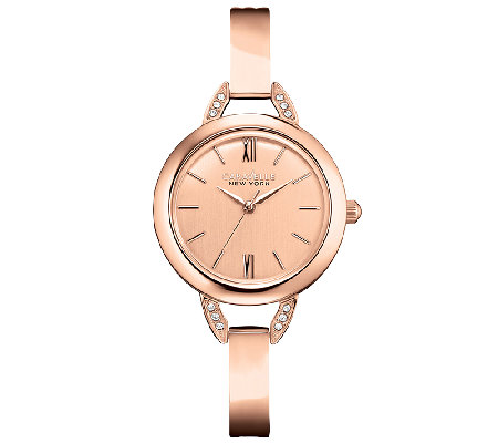 Caravelle New York Women's Rosetone Bangle Watch