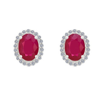 Premier 8x6mm Oval Ruby & Diamond Halo Stud Earrings, 14K - J337077