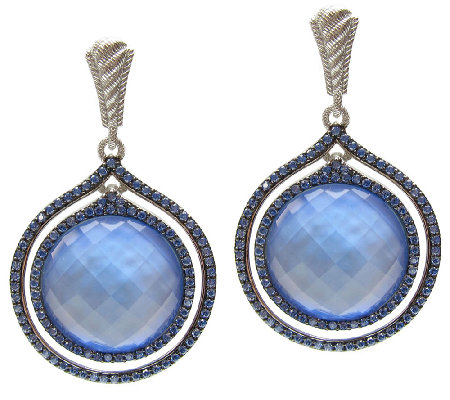Judith Ripka Sterling Blue Doublet & Diamonique Earrings