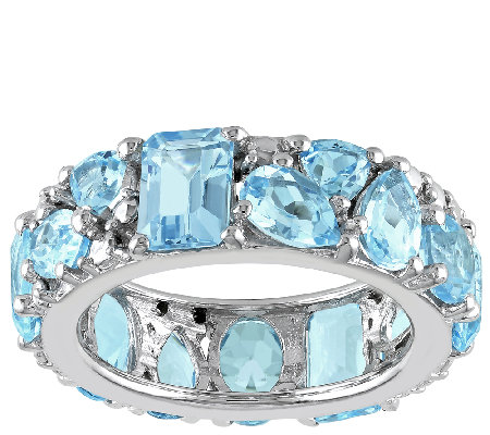 Sterling 10.10cttw Mixed-Cut Blue Topaz Eternity Band Ring