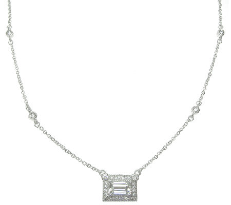 Judith Ripka Sterling Rectangle Diamonique Pendant Necklace