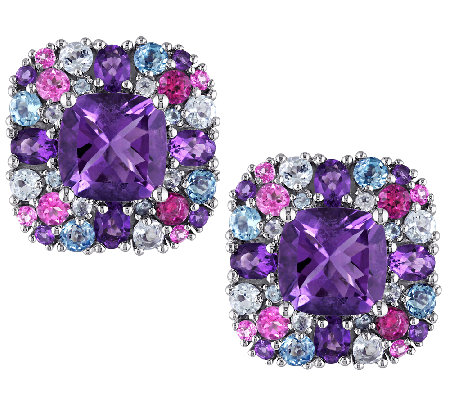 9.00cttw Purple & Blue Multi-Gemstone Cushion-Cut Earrings