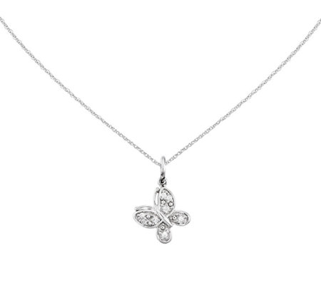 "Diamond Accent Butterfly Pendant w/ 18"" Chain,14K"