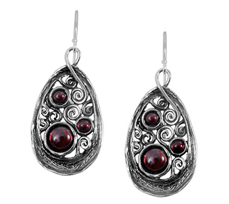 Or Paz Sterling Triple Garnet Teardrop Dangle Earrings