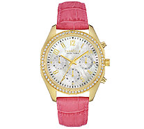 Caravelle New York Women's Crystal-Accented Pink Leather Watc - J339777