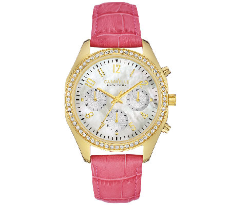 Caravelle New York Women's Crystal-Accented Pink Leather Watc