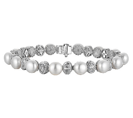 "Judith Ripka Sterling Cultured Pearl & Diamonique 7"" Bracelet"
