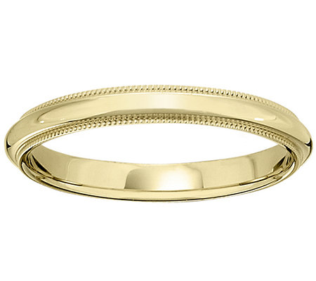 14K Gold 3mm Milgrain Comfort Fit Wedding BandRing
