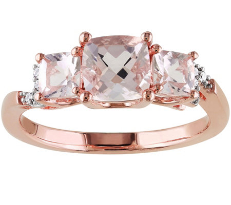 Diamond & Morganite Ring, Sterling