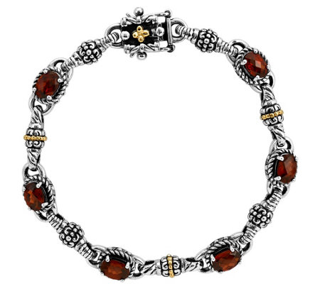 "Sterling and 14K Gold Oval Garnet 7-1/4"" Bracelet"