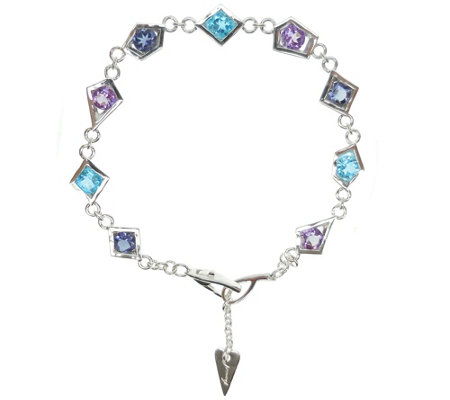 "Franco P Sterling Multi-Gemstone 6-3/4"" Bracelet"