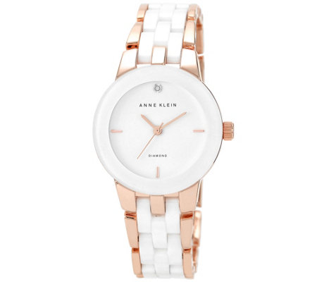 Anne Klein Diamond Accent Dial Rosetone White Ceramic Watch